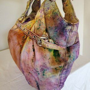 Kooba Leather Handbag Hobo Bag Purse orange yellow